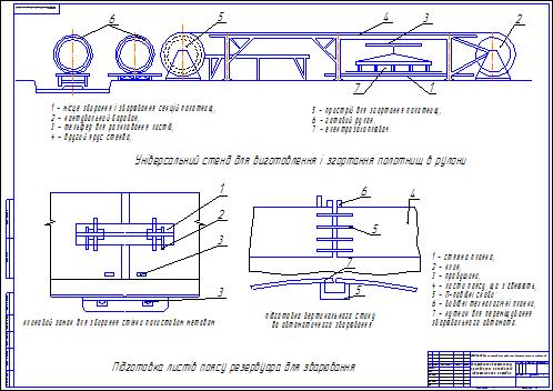Все работы студента Клуб студентов Технарь  Схема стенд изготовления вертикальных резервуаров Чертеж Оборудование транспорта нефти и газа Курсовая работа