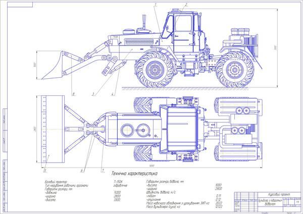 Проект бульдозер на базі трактора Т К Работа Курсовая  Проект бульдозер на базі трактора Т 150К