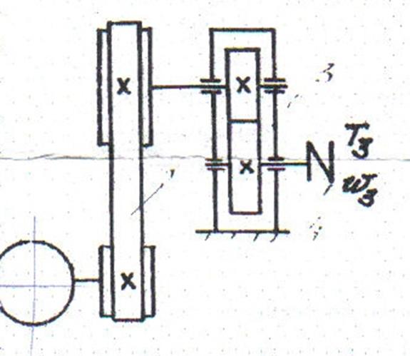 заданной схеме: двигатель,