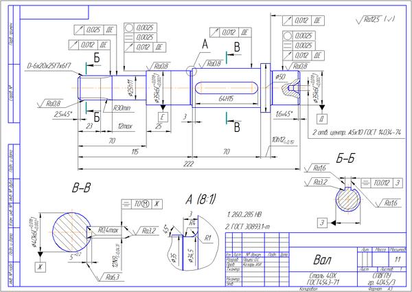 Технологическая карта изготовления вала курсовая работа 4505