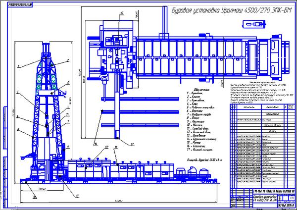 Поиск Клуб студентов Технарь  Буровая установка БУ 4500 270 ЭК БМ Чертеж Оборудование для бурения нефтяных