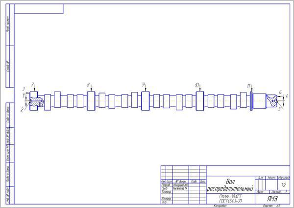 Разработка ремонтантной СТО для распределительного вала автомобиля  Разработка ремонтантной СТО для распределительного вала автомобиля КАМАЗ