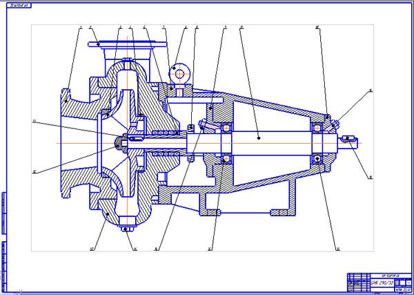 Центробежный насос консольный ЦНК Чертеж Оборудование  Центробежный насос консольный ЦНК 290 30 Чертеж Оборудование транспорта и хранения нефти и